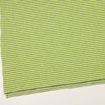 コットン&ポリエステル×ボーダー(ネオングリーン)×裏毛ニット サムネイル2