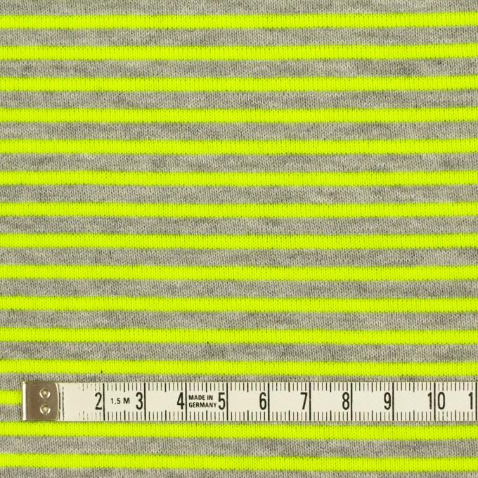 コットン&ポリエステル×ボーダー(ネオングリーン)×裏毛ニット イメージ4