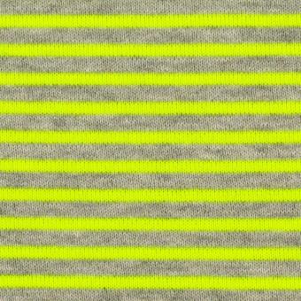 コットン&ポリエステル×ボーダー(ネオングリーン)×裏毛ニット サムネイル1