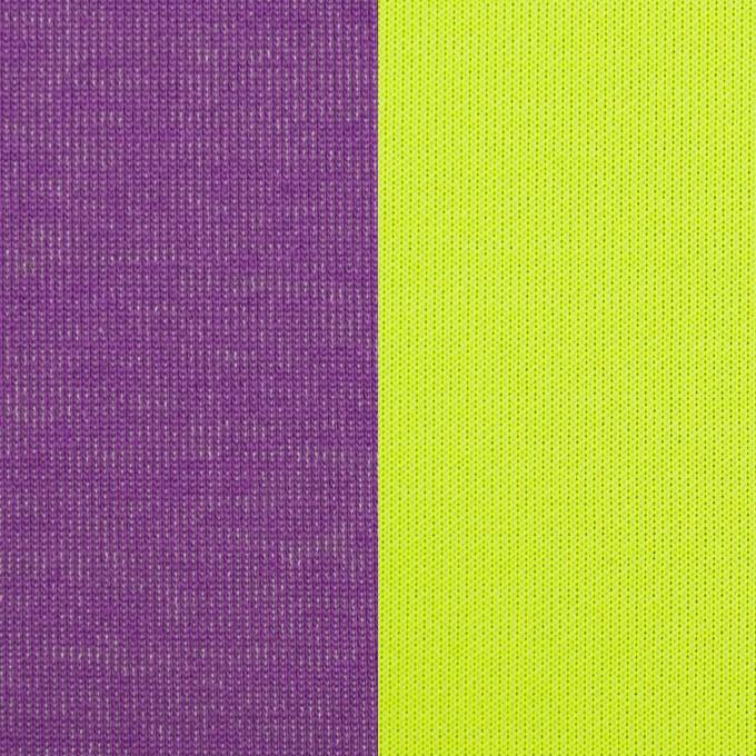 ポリエステル&コットン混×無地(パープル&ネオングリーン)×Wニット イメージ1