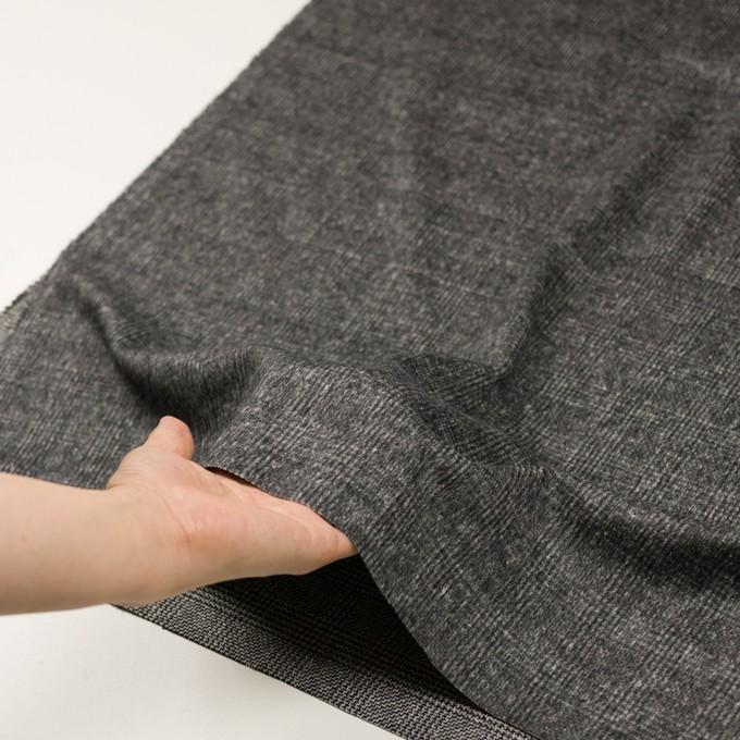 ウール×チェック(チャコールグレー)×かわり織_イタリア製 イメージ5