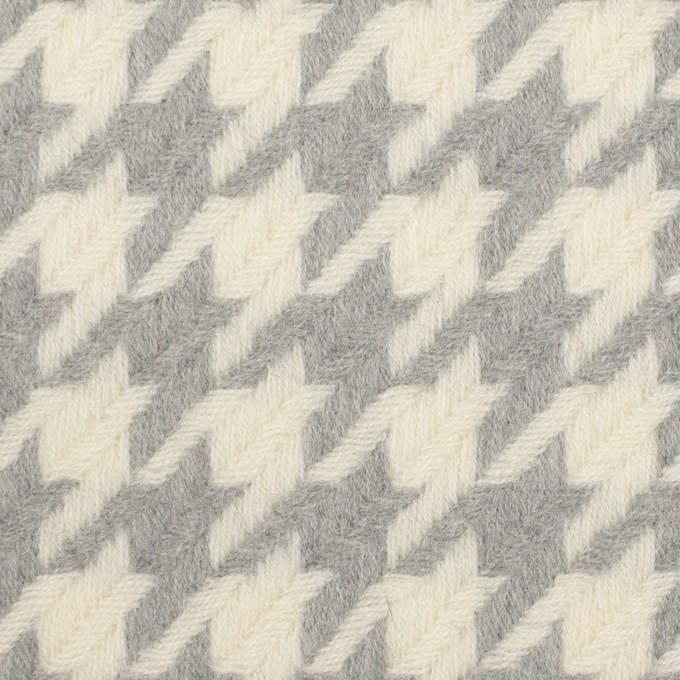 ウール×千鳥格子(アイボリー&グレー)×かわり織_全2色 イメージ1