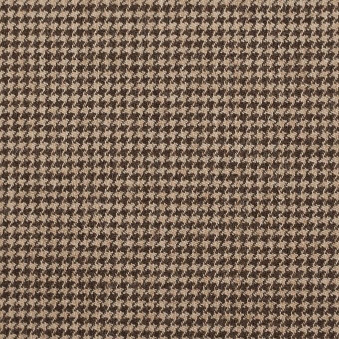 ウール&ポリウレタン×チェック(モカ)×千鳥格子ストレッチ イメージ1