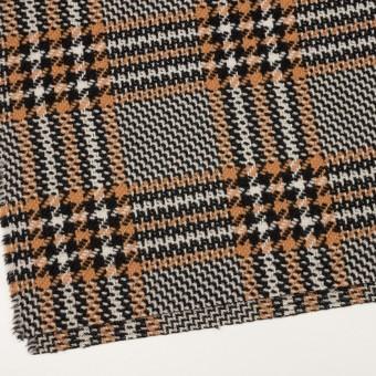 ウール&アクリル×チェック(アプリコット&ブラック)×かわり織 サムネイル2