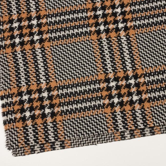 ウール&アクリル×チェック(アプリコット&ブラック)×かわり織 イメージ2