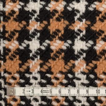 ウール&アクリル×チェック(アプリコット&ブラック)×かわり織 サムネイル4