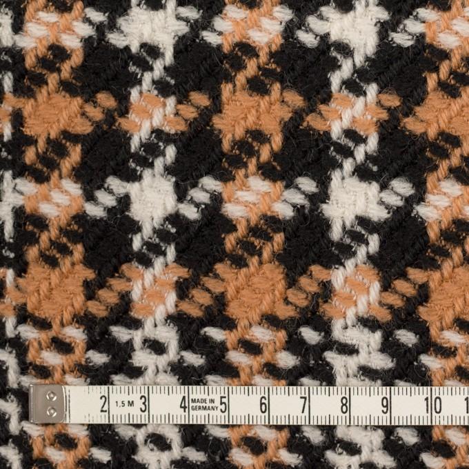 ウール&アクリル×チェック(アプリコット&ブラック)×かわり織 イメージ4