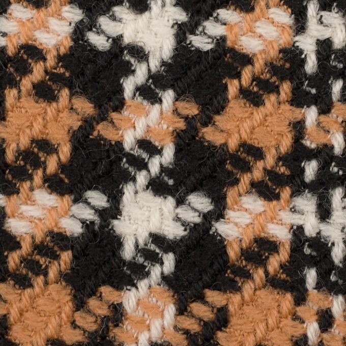 ウール&アクリル×チェック(アプリコット&ブラック)×かわり織 イメージ1