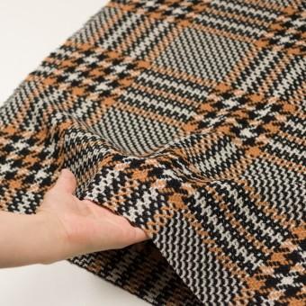 ウール&アクリル×チェック(アプリコット&ブラック)×かわり織 サムネイル5