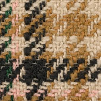 アクリル&ウール混×チェック(ベージュ、キャメル&ダークネイビー)×ファンシーツイード サムネイル1