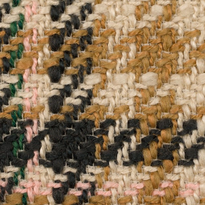 アクリル&ウール混×チェック(ベージュ、キャメル&ダークネイビー)×ファンシーツイード イメージ1