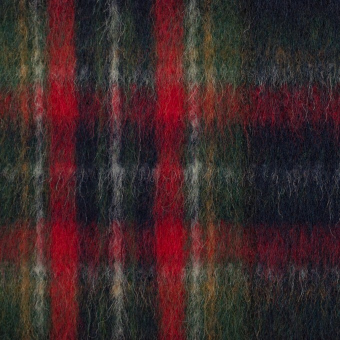 ウール×チェック(ダークネイビー、レッド&グリーン)×ビーバー イメージ1