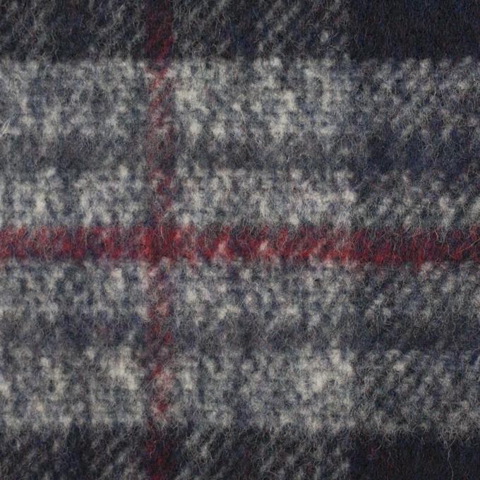 ウール×チェック(ダークネイビー&グレー)×ビーバー イメージ1