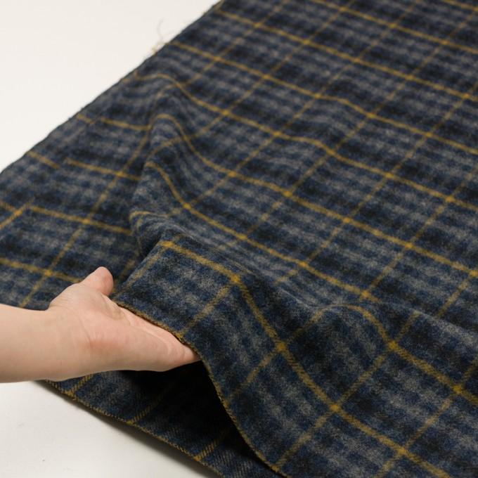 ウール×チェック(グレー、ネイビー&マスタード)×かわり織 イメージ5