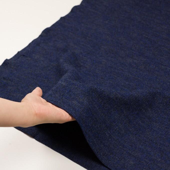 ウール&ナイロン×ミックス(マリンブルー&チャコール)×かわり編み イメージ5