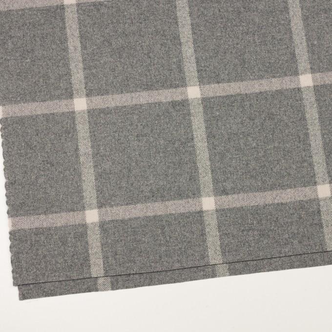 ウール&ポリウレタン×チェック(グレー)×フラノ(フランネル) イメージ2