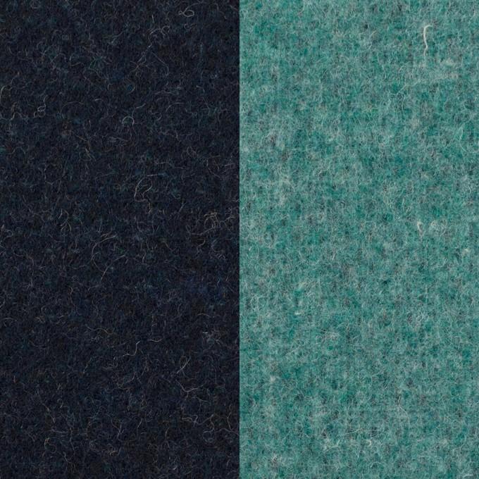 ウール&ポリエステル混×無地(ネイビー&エメラルドグリーン)×Wツイード_全4色 イメージ1