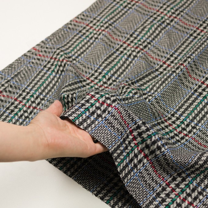 ウール×チェック(グレー&ブラック)×かわり織 イメージ5