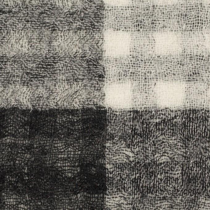 ウール×チェック(ブラック)×Wガーゼ イメージ1