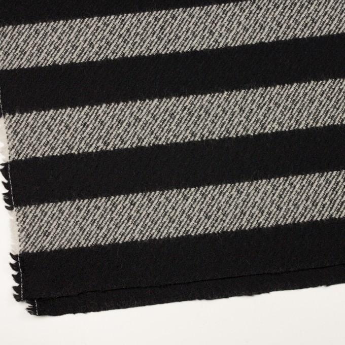 ウール&ナイロン×ボーダー(ブラック)×カルゼ_イタリア製 イメージ2