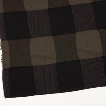ウール&コットン×チェック(カーキブラウン&ブラック)×ボイル サムネイル2