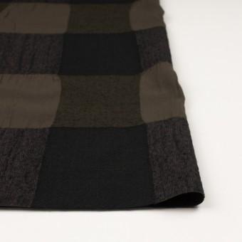 ウール&コットン×チェック(カーキブラウン&ブラック)×ボイル サムネイル3