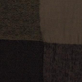 【200cmカット】ウール&コットン×チェック(カーキブラウン&ブラック)×ボイル