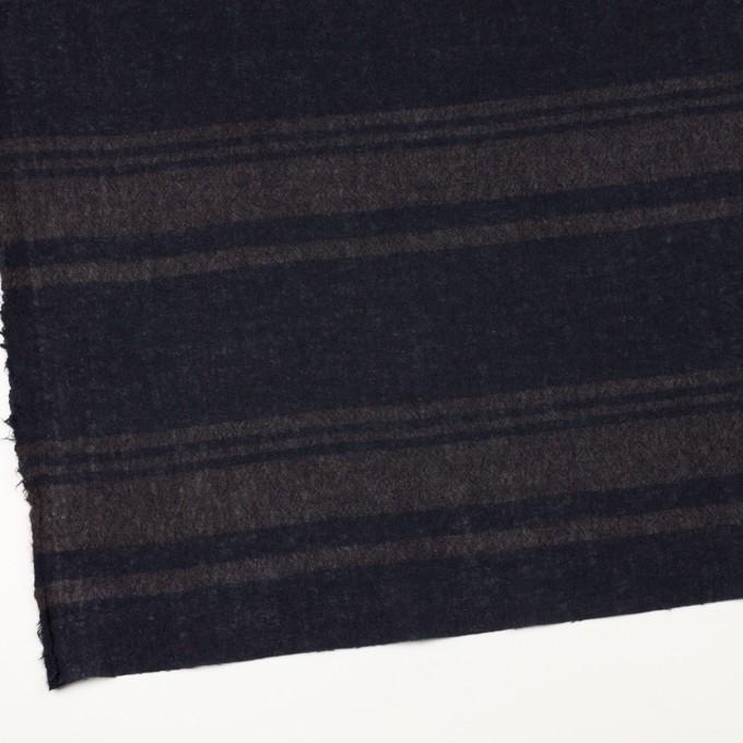 ウール×ボーダー(カーキブラウン&ネイビー)×ガーゼ イメージ2