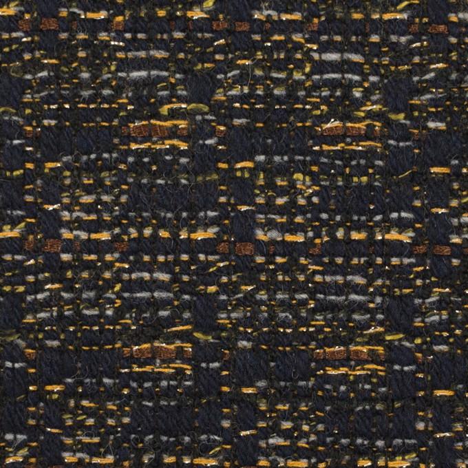 ウール&アクリル混×ミックス(ダークネイビー&アンティークゴールド)×ファンシーツイード イメージ1