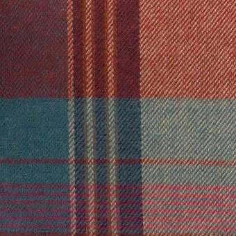 コットン×チェック(レッドブリック&ブルーグレー)×ビエラ サムネイル1