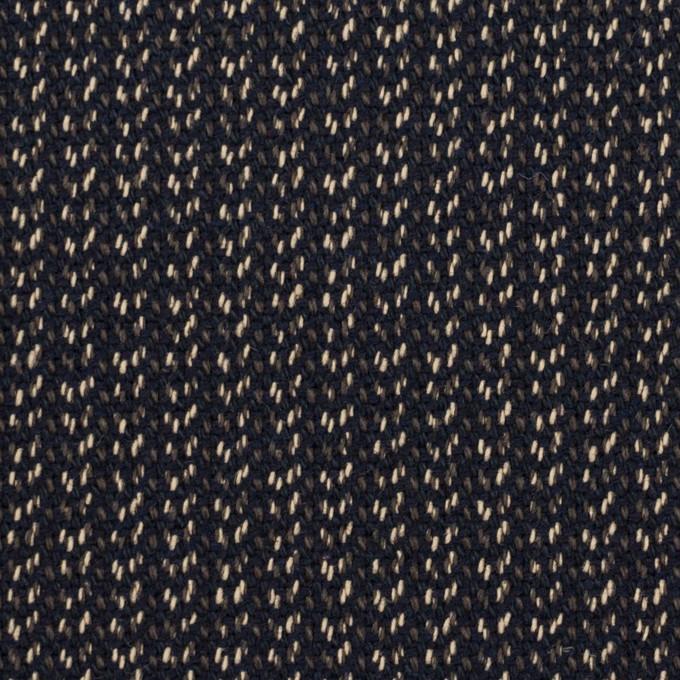 コットン&ウール混×ミックス(ダークネイビー、キナリ&カーキグリーン)×かわり織 イメージ1