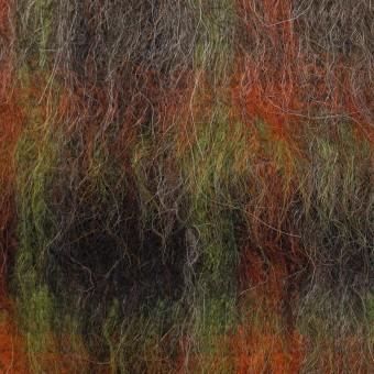 ウール&アクリル混×チェック(オレンジ&グリーン)×シャギー サムネイル1