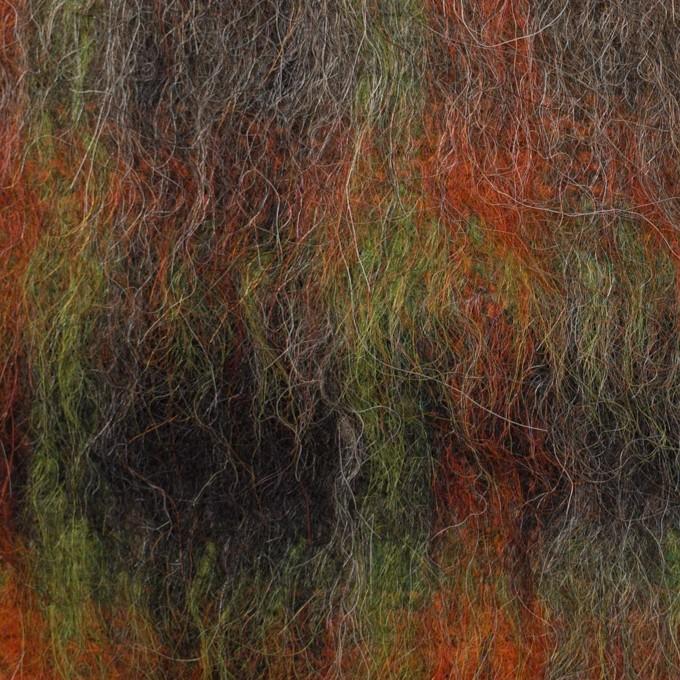 ウール&アクリル混×チェック(オレンジ&グリーン)×シャギー イメージ1