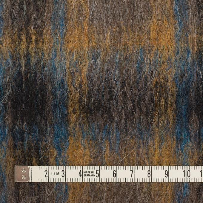 ウール&アクリル混×チェック(オーカー&ターコイズブルー)×シャギー イメージ4