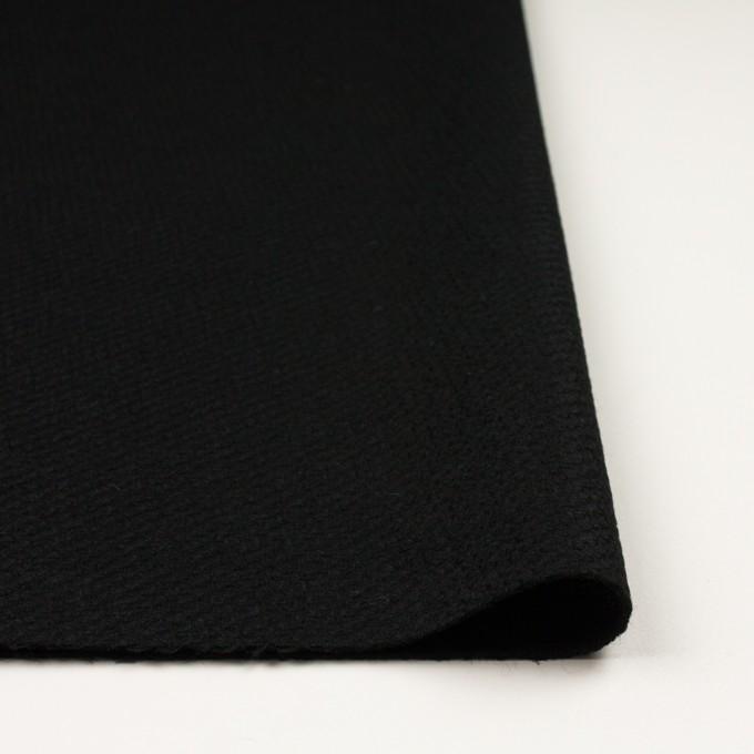 ウール&アクリル混×無地(ブラック)×かわり織 イメージ3