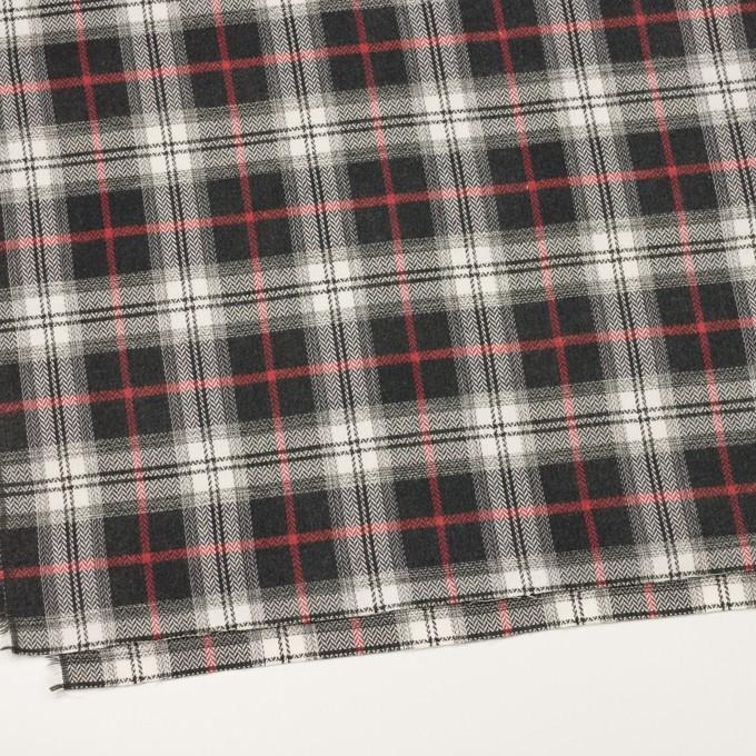コットン×チェック(レッド&チャコール)×ヘリンボーン_全3色 イメージ2