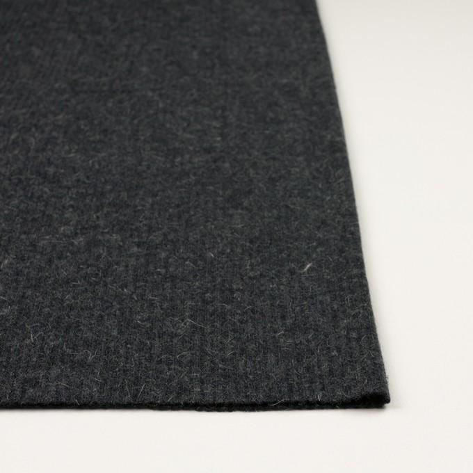 ウール&アルパカ混×無地(チャコールグレー)×リブニット イメージ3