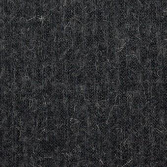 ウール&アルパカ混×無地(チャコールグレー)×リブニット