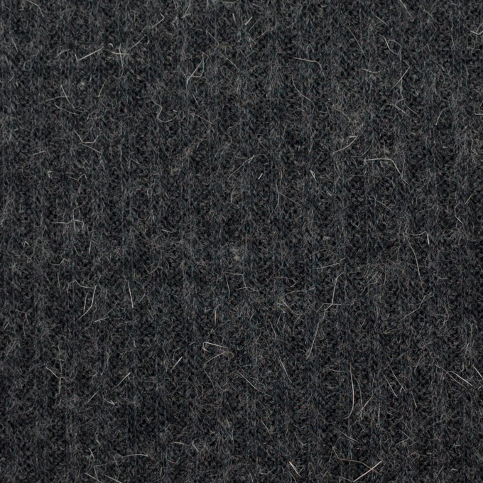 ウール&アルパカ混×無地(チャコールグレー)×リブニット イメージ1