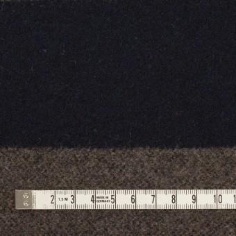 ウール&アクリル混×ボーダー(モカ&ダークネイビー)×フラノ(フランネル) サムネイル4