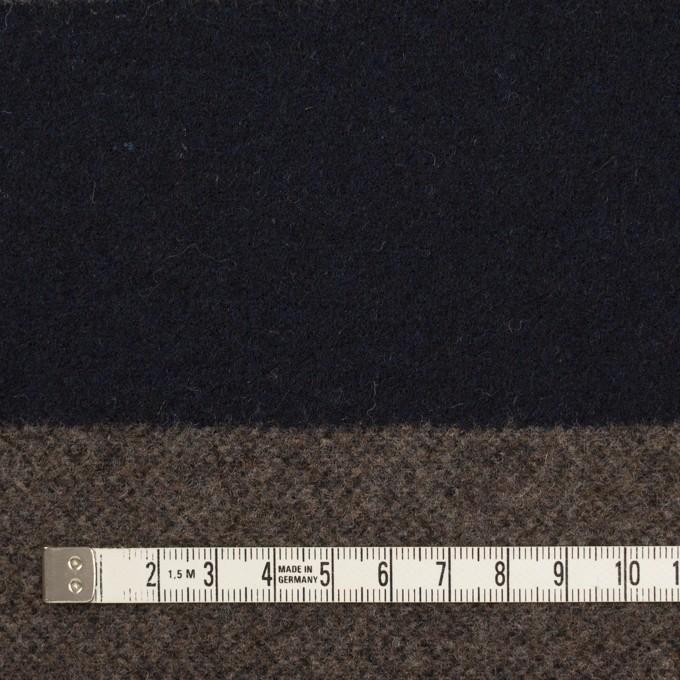 ウール&アクリル混×ボーダー(モカ&ダークネイビー)×フラノ(フランネル) イメージ4