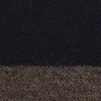 ウール&アクリル混×ボーダー(モカ&ダークネイビー)×フラノ(フランネル) サムネイル1