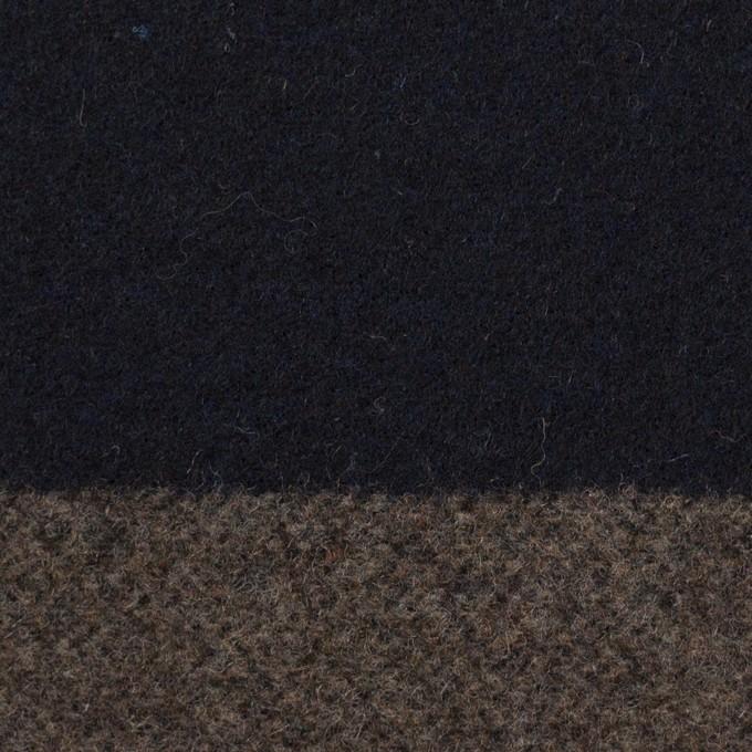 ウール&アクリル混×ボーダー(モカ&ダークネイビー)×フラノ(フランネル) イメージ1