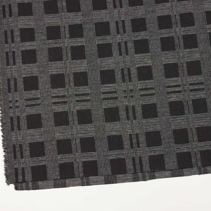 ウール&ポリエステル×チェック(チャコールブラック)×ジャガード イメージ2
