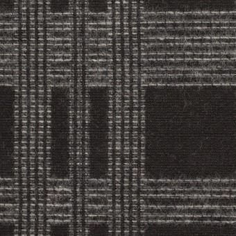 ウール&ポリエステル×チェック(チャコールブラック)×ジャガード サムネイル1