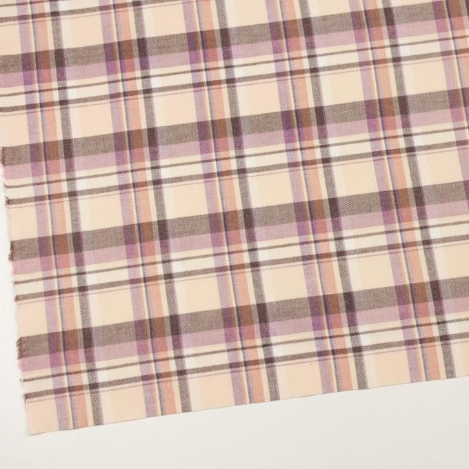 コットン×チェック(クリーム、モーブ&モカ)×ビエラ イメージ2