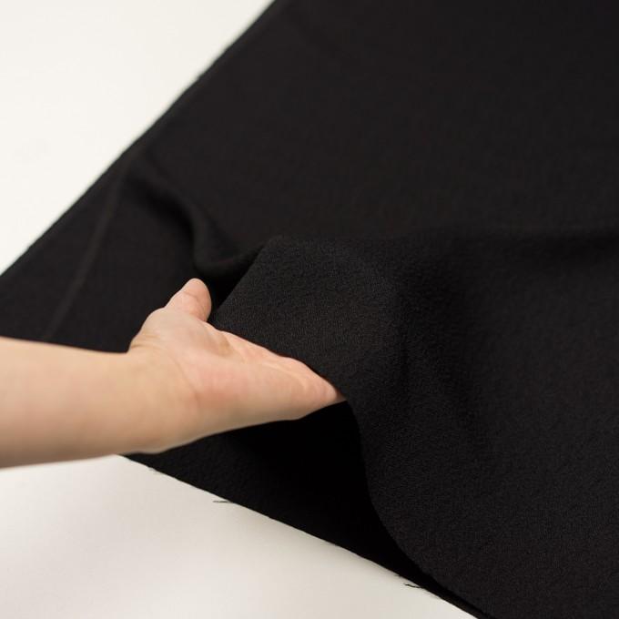 【200cmカット】シルク&レーヨン×無地(ブラック)×ふくれジョーゼット イメージ5