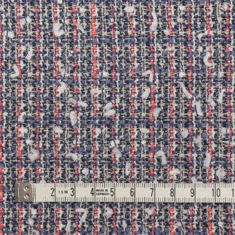 ウール&コットン混×ミックス(ヒヤシンスブルー&スカーレット)×ファンシーツイード_全2色 サムネイル4