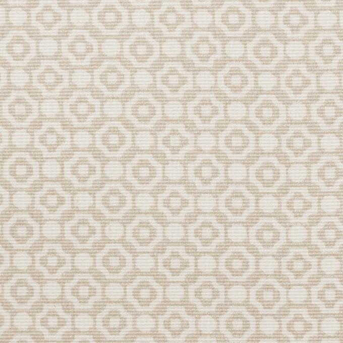 コットン&レーヨン×幾何学模様(グレイッシュベージュ)×グログラン イメージ1