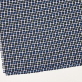 リネン×チェック(ネイビー、サックス&イエローグリーン)×薄キャンバス_イタリア製 サムネイル2